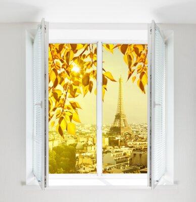 Väggdekor Fönster med Eiffeltornet och tak vy