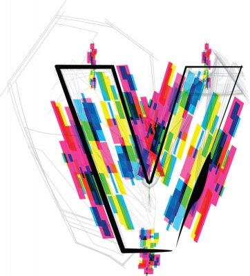 Väggdekor font illustrationen. BREV v. Vector illustration
