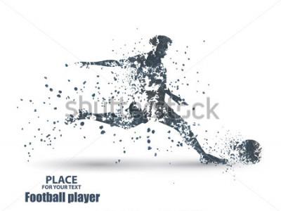 Väggdekor Football player, kick a ball, particle divergent composition, vector illustration