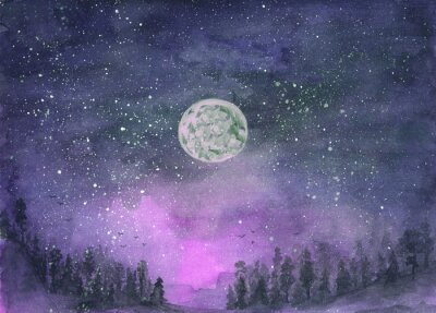 Väggdekor Forest in the fog, hills. Silhouette of flying birds. Moon in starry sky. Hand-drawn, watercolor texture. Purple background.