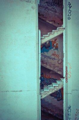 Väggdekor förfallna trappor