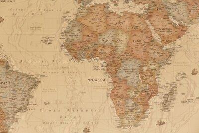 Väggdekor Forntida geografisk karta över Afrika med namnen på länderna