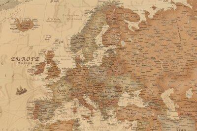Väggdekor Forntida geografisk karta över Europa med namnen på länderna
