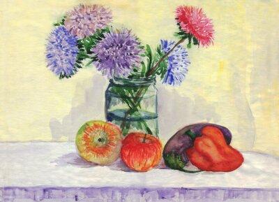 Väggdekor Fortfarande liv. Bukett av astrar, äpplen, paprika, aubergine. akvarellmålning