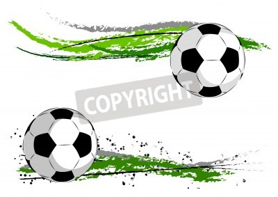 Väggdekor Fotboll på grön abstrakt