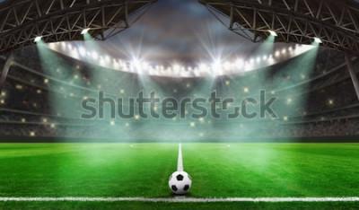 Väggdekor fotbollsmatch börjar - Fotboll i stadion
