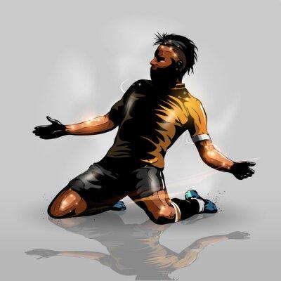 Väggdekor fotbollsspelare scoring mål