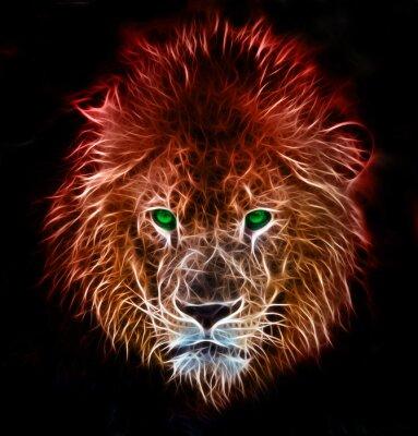 Väggdekor Fractal digital fantasikonsten av ett lejon på en isolerad bakgrund