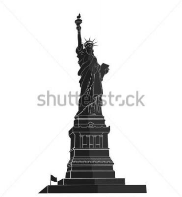 Väggdekor Frihetsgudinnan. New York landmärke. Amerikansk symbol. platt silhuett
