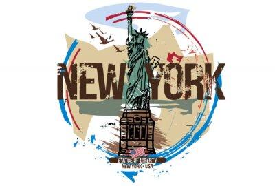 Väggdekor Frihetsgudinnan, New York / USA. Stadsdesign. Handritad illustration.