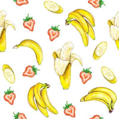 Väggdekor Frukt mönster. Seamless frukter konsistens av banan och jordgubbar på en vit bakgrund. Vattenfärgillustration. Handarbete