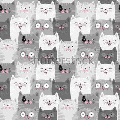 Väggdekor Funny grey cats, cute seamless pattern background