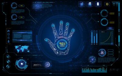 Väggdekor futuristiska sidan scan identifiera sig med hud elementet interface bildskärm design bakgrund mall
