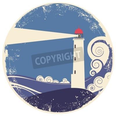 Väggdekor fyr i havet landscape.vintage illustration på gammalt papper