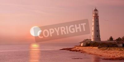 Väggdekor fyr och solnedgång