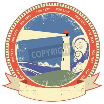 Väggdekor Fyr symbol.Vintage etikett på gammalt papper textur