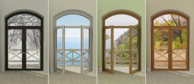 Väggdekor Fyra fönster vid olika tider på året. Fyra flerfärgade fönster med tillgång till de olika årstiderna.