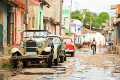 Väggdekor Gamla cabriolet bil på gatan i Trinidad, Kuba