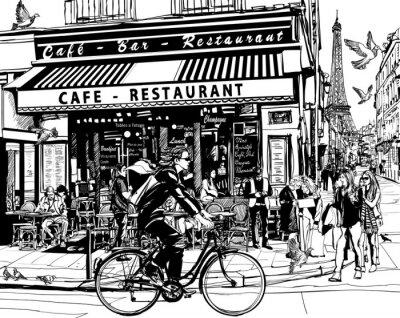 Väggdekor Gamla café i Paris