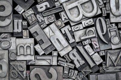 Väggdekor gamla tryckpressblock av metalltryck