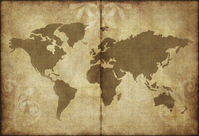 Väggdekor gamla världen karta pergament papper