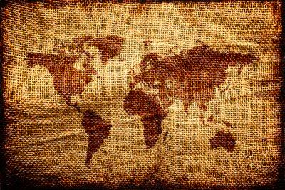 Väggdekor Gamla världens karta på hesian säck textur
