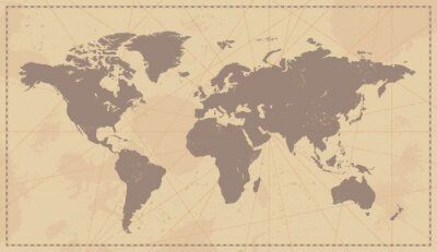 Väggdekor Gamla Vintagevärldskarta