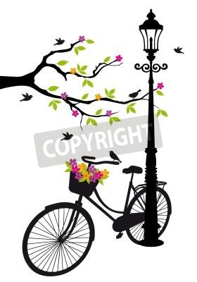 Väggdekor gammal cykel med lampa, blommor och träd
