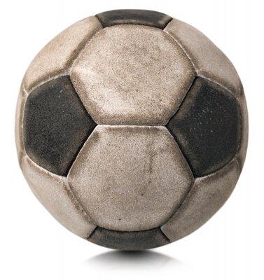 Väggdekor Gammal fotboll isolerad white / Detalj av en gammal svartvit fotboll isolerad på vit bakgrund