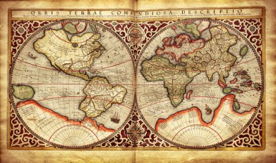 Väggdekor Gammal karta av världen, tryckt 1587