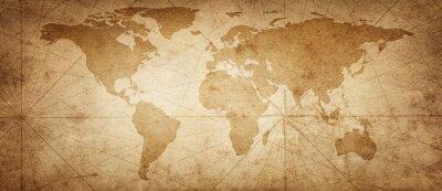 Väggdekor Gammal karta över världen på en gammal pergamentbakgrund. Vintagestil. Delar av denna bild möblerad av NASA.