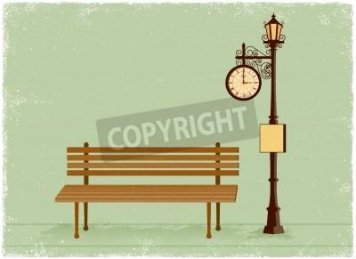 Väggdekor Gata klocka och lyktstolpe med parkbänk i vintage vektor stil