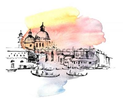 Väggdekor Gator i Venedig med gondolen, Italien. Handritad skiss på färgglad akvarellbakgrund.