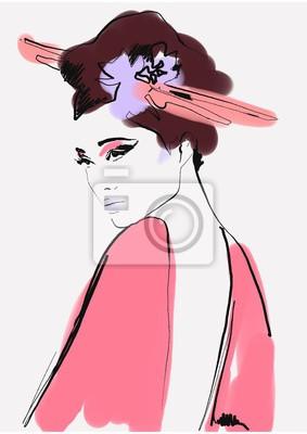 Väggdekor geisha. woman in kimono. asian woman. fashion background.