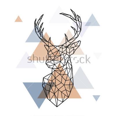 Väggdekor Geometrisk chef för den skandinaviska hjorten. Polygonal stil. Skandinavisk stil.