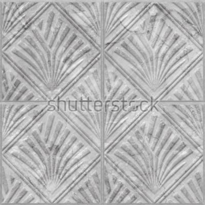 Väggdekor Geometrisk mönster på keramik och marmor kakel sömlös textur, 3d illustration