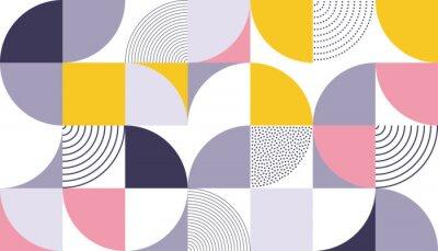 Väggdekor Geometrisk mönster vektor bakgrund med skandinavisk abstrakt färg eller schweizisk geometri tryck av rektanglar, kvadrater och cirklar form design