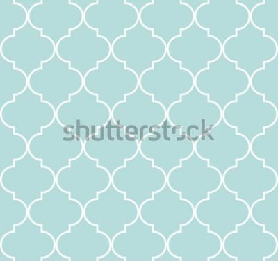Väggdekor Geometrisk sömlös modell för quatrefoil, bakgrund, vektorillustration i mintblå, mjuk turkosfärg och vit.