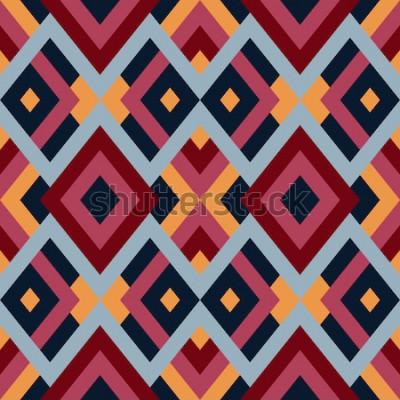 Väggdekor Geometriska sömlösa vektormönster med trianglar och rutor. Oändlig abstrakt bakgrund för design i röda, blå och gula färger