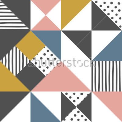Väggdekor Geometriskt mönster. Abstrakt triangel bakgrund med handritad rand och polka dot Vektor illustration.