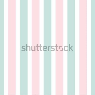 Väggdekor Geometriskt randigt seamless mönster av rosa och grön färg. Festlig illustration. Vertikal linje tapet. Elegant inpackningsbakgrund.