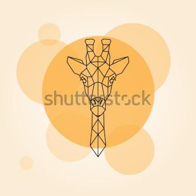 Väggdekor Giraffhuvud geometriska linjer silhuett isolerad på en orange cirkel. Vektorillustration.