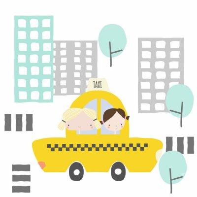 Väggdekor Glada flickvänner i en taxitur till staden. Barn grafisk. Vektor handgjord illustration.
