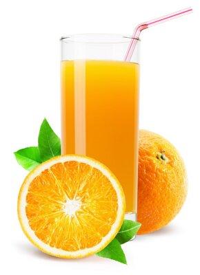 Väggdekor glas apelsinjuice isolerade på vit bakgrund
