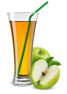 Väggdekor Glas äppeljuice med frukt isolerad på vitt.