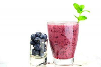 Väggdekor glas färska blåbär smoothie