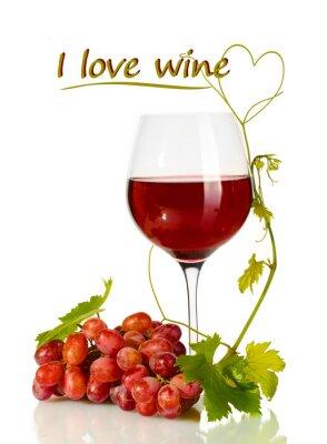 Väggdekor Glas vin och mogna druvor med jag älskar vin text isolerade