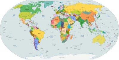 Väggdekor Global politisk karta över världen, vektor