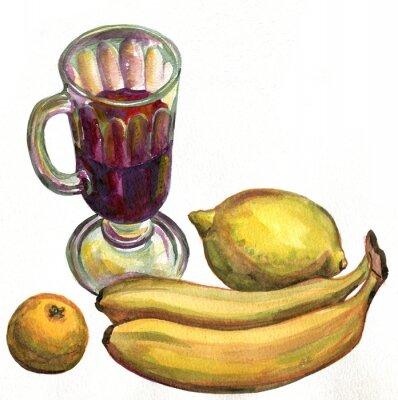 Väggdekor Glögg, bananer, citron och mandarin. akvarellmålning