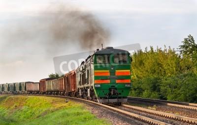 Väggdekor Godståg dras av diesellok. belarusian järnvägs